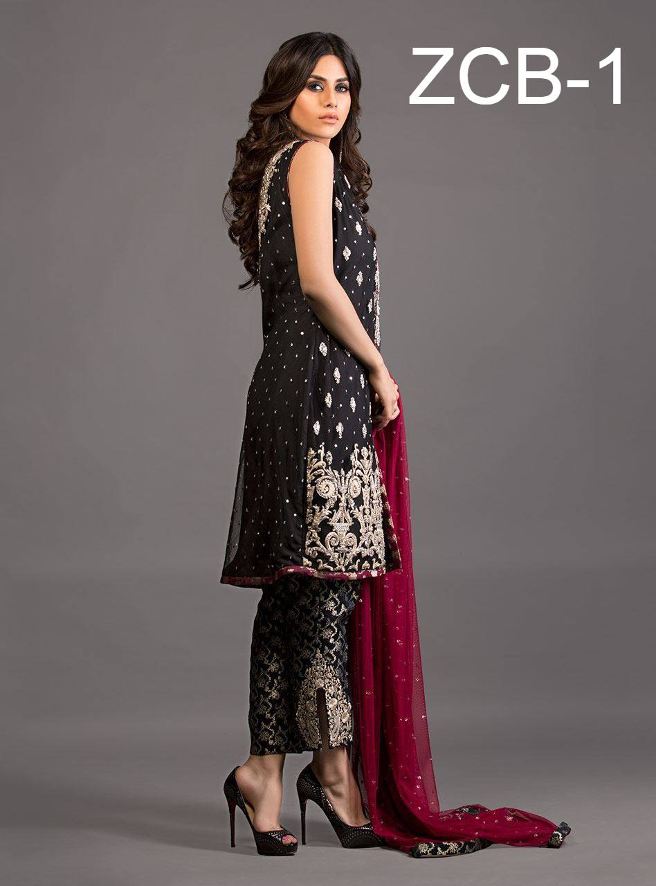 Zainab Chottani Black and Burgundy