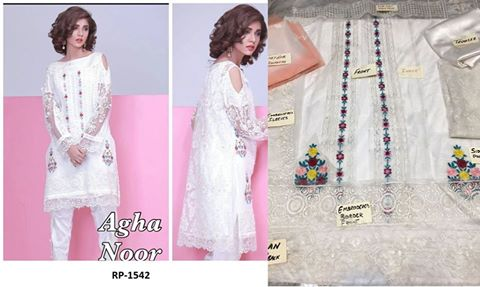 Agha Noor Net Embroidered Suit