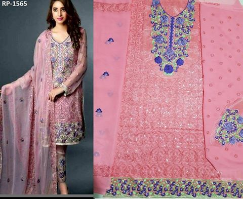 Pakistani Chiffon Embroidered Suit