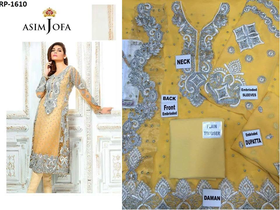 NEW ASIM JOFA DORI WORK CHIFFON COLLECTION