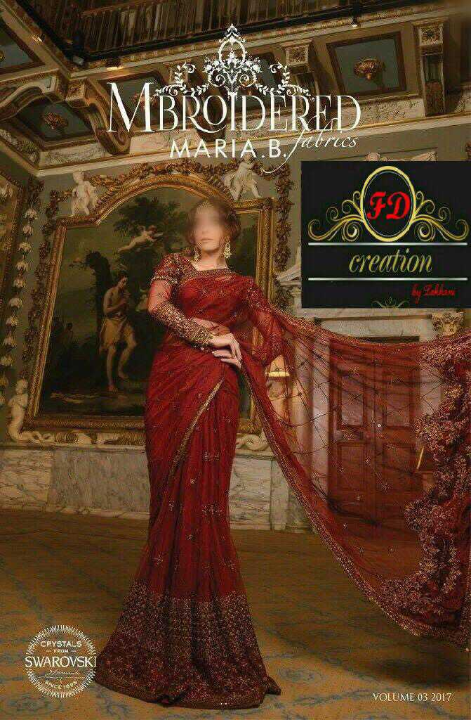 Maria B Chiffon Embroidered Saree 2018