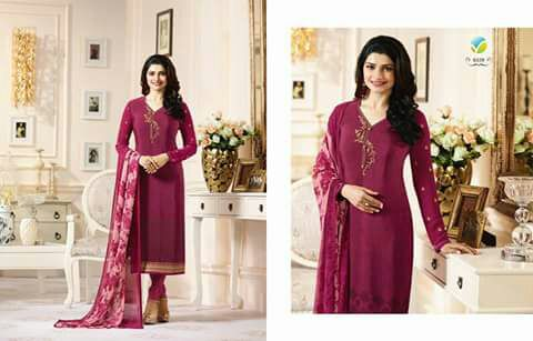 Silk with Chiffon Dupatta Indian Catlog Orignal Suit 4pc, Semi Stitched Suit