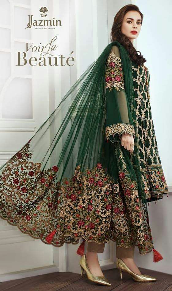 Jasmin Chiffon Latest Dress 2018 Pakistani Dresses