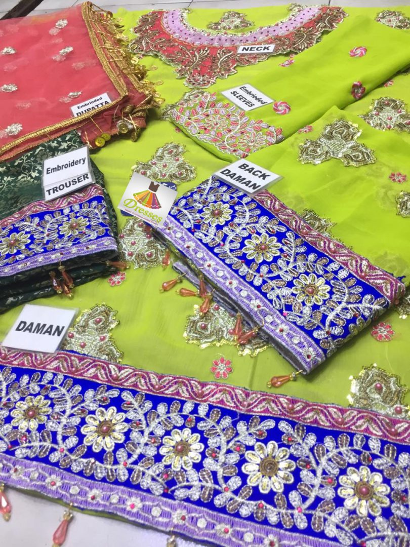 NOTE FULL HAND WORK SUIT* NICK EMBROIDERED FRONT FULLY EMBROIDERED BACK EMBROIDERED SLEEVES EMBROIDERED FRONT AN BACK DAMAN EMBROIDERED WITH PALES NET EMBROIDERED DUPPATTA 4SIDE APPLIED PALES TROUSER JAMAWAR EMBROIDED Pkr Price: 4,999 For Booking Inbox us or Call: +92-333-8985936 Whats App/IMO: +92-345-8970417 , +92-333-8985936 International Shipping Charges apply