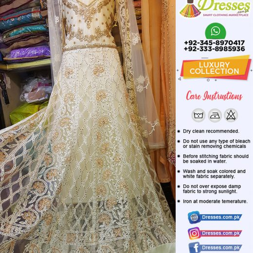 Pakistani Party Wear Long Frock with Kundan and Resham Work