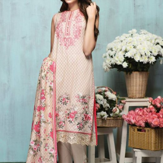 Alkaram-latest-summer-collection-beige-and-pink-embroidered-dress
