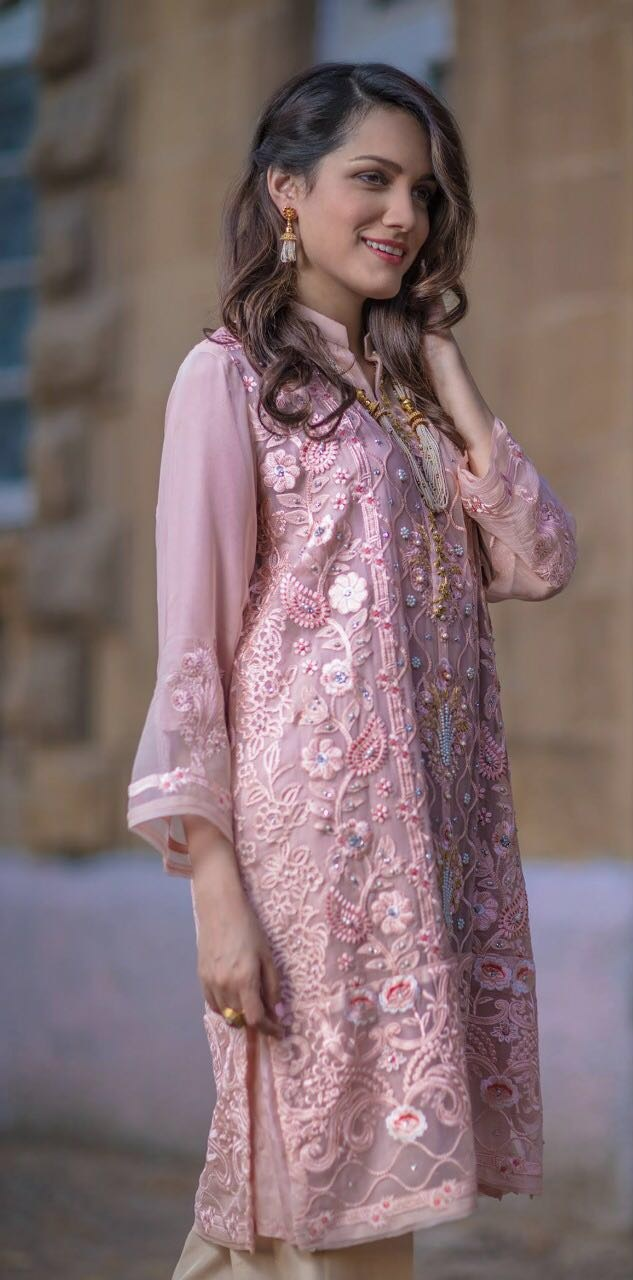 Agha Noor Chiffon Hand Work Suit Pakistani Dresses