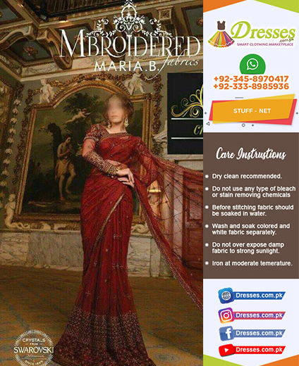 Maria B Net Embroidered Saree 2018