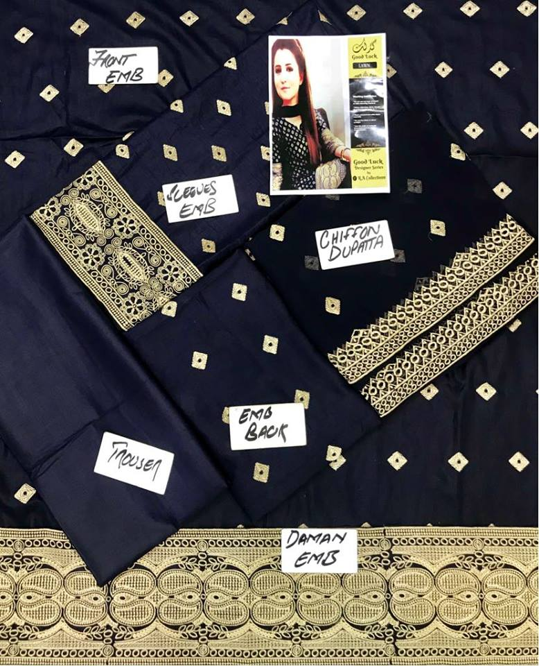 Neelam Yousuf Lawn Embroidered Suit Chiffon Dupatta