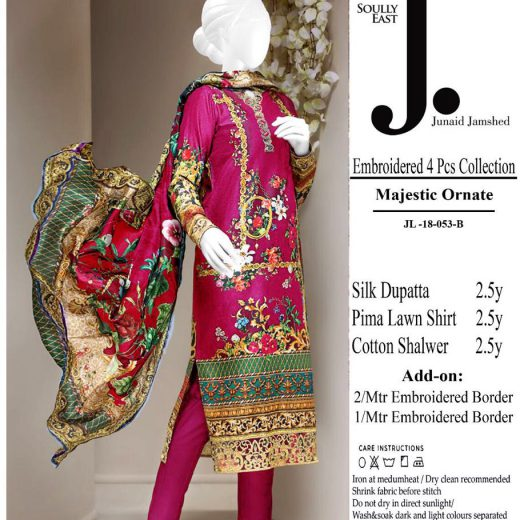 J.Lawn Suit With Chiffon Dupatta