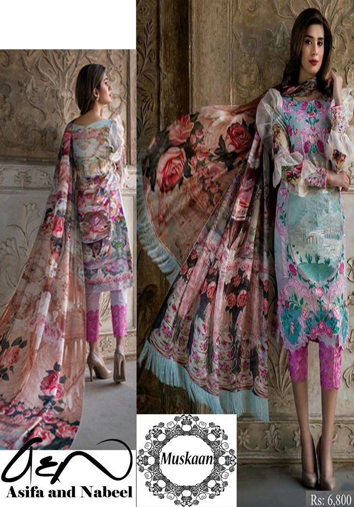 Asifa and Nabeel Swiss Lawn Collection 2018