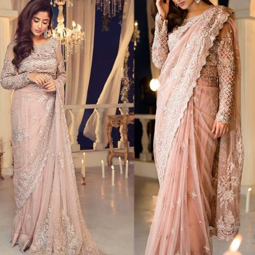 Maria B Embroidered Saree 2018