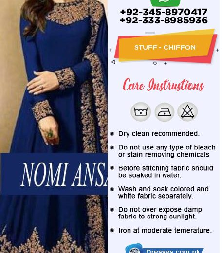 Now available in 5 colours 1 Royal Blue 2 Reddish Mahroon 3 Bottle Green 4 Purple 5 Black Front Body Neck Embroidered in chiffon Back body Plain chiffon Front Back Full Gear embroidered Heavy Big Daman In Chiffon Sleeves Heavy embroidered Lace in Chiffon Chiffon Heavy 2 sided Heavy Border lace Embroidered Dupatta in chiffon Malai trouser Pkr Price: 4,999 For Booking Inbox us or Call: +92-333-8985936 Whats App/IMO: +-92-345-8970417 , +92-333-8985936 International Shipping Charges apply
