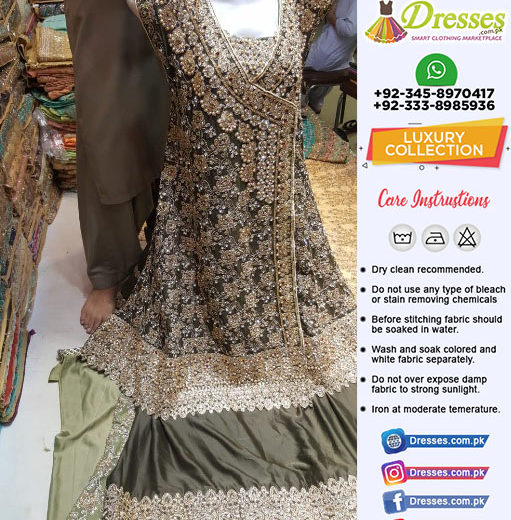 Pakistani Wedding Dress with Stones and Pearls