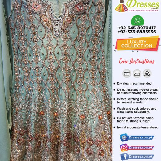 Party Wear Dress with Stone Work and Heavy Embroidered Pearls