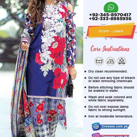 SHIRT LAWN DUPATTA CHIFFON 1.NAVY BLUE COLOUR DETAILS Front Neck Embroidered With Sequence Work On Printed Lawn Sleeves Printed Back Printed Dupatta On Chiffon Printed Trouser Printed Pkr Price: 2,999 For Booking Inbox us or Call: +92-333-8985936 Whats App/IMO: +92-345-8970417 , +92-333-8985936 International Shipping Charges apply