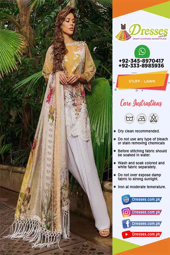 FINE QUALITY FABRIC N EMB WORK FABRIC DETAILS Shirt Printed Lawn Dupatta Printed Chiffon Trouser Lawn EMBROIDERY DETAILS 4 bunches Emb with cutwork For Fornt Front Daman Heavy Embroidered Sleeves Lace Embroidered Pkr Price: 3,699 For Booking Inbox us or Call: +92-333-8985936 Whats App/IMO: +92-345-8970417 , +92-333-8985936 International Shipping Charges apply