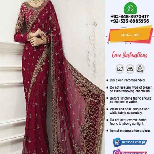 Maria B Bridal Net Saree Online